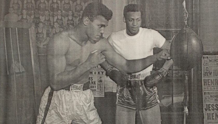 Cassius Clay (Muhammad Ali) with Jimmy Ellis training inside Bruner's Headline Boxing Gym, Louisville Kentucky