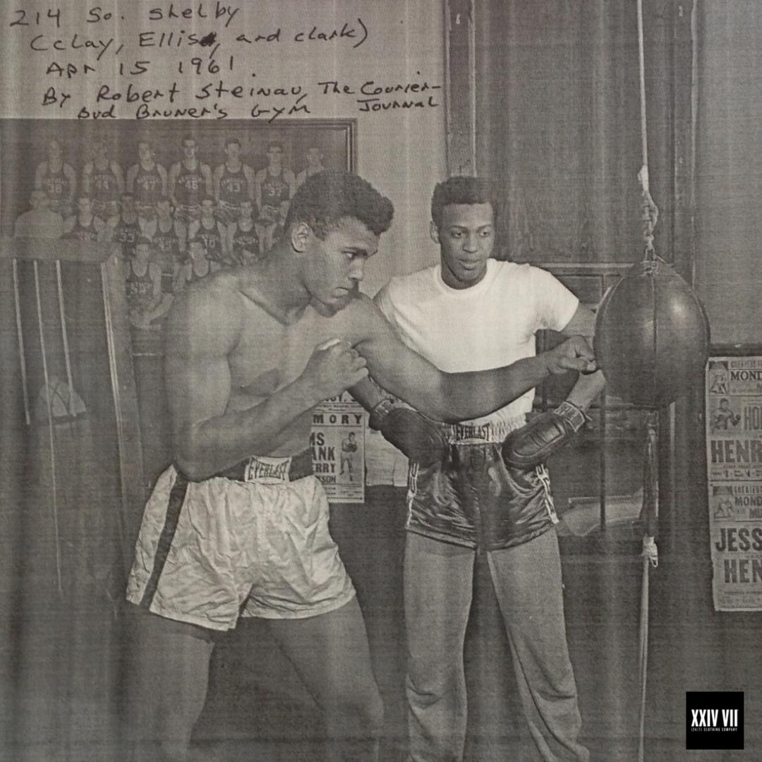 Cassius Clay (Muhammad Ali) with Jimmy Ellis training inside Bruner's Headline Boxing Gym, Louisville Kentucky